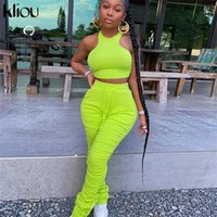 KLIOU Fitness Two Piece Set Donne Sport Sport Top Top impilato Leggings Tracksuit Skinny Stretchy Senza maniche Casual Outfits Rucchizzati 201104