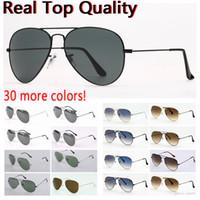 Menssunglasses أعلى جودة الطيران الطيار نظارات الشمس للرجال النساء ظلال العدسات الزجاجية الأشعة فوق البنفسجية مع حقيبة جلدية، وقماش، وإكسسوارات البيع بالتجزئة!