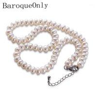 Correntes Barochecly Branco Branco Natural Pérola Colar de Pérolas de 8-9mm jóias 40cm / 45cm / 50cm Comprimento para mulheres presentes1