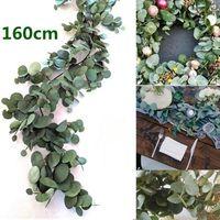 160cm artificial de eucalipto Garland Colgando Rattan boda verde de la hoja del sauce Partido centros de mesa Decoración del café del hotel Nueva