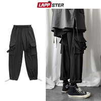 Lappster Erkekler Hip Hop Joggers Kargo Erkek Siyah Gevşek Ter Erkek Streetwear Tulum Punk Harem Pantolon Y201123