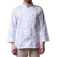 Erkek Ceketler Beyaz Mutfak Şef Ceket Üniformaları Hizmetler Frock Mont İş Giyim M-3XL Tam Kollu Aşçı Giysileri