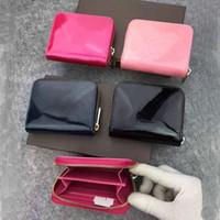 Dicky0750B дизайнерские кошельки патентные кожаные короткие кошельки DICKY0750 мода леди высокого качества синный держатель карты монет кошелек женщин классический карман молнии