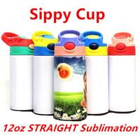 Vendita all'ingrosso! 12oz Dritto Stippy Cups Sublimazione Sublimazione Bambini Bambini in acciaio inox Bottiglie d'acqua Abbinamento a doppio isolato Aspirapolvere Bere Bicchieri A12