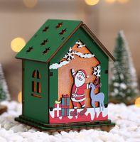 LED Деревянные Висячие кабины S M L Рождество висячие Декоративные Кулон деревянный дом подвеска рождественские украшения KKF1950