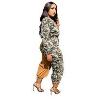 2 частей наборов Новый стиль африканская одежда осень зима O-шеи с длинным рукавом камуфляж контрастный цвет спортивный повседневный костюм для женщин