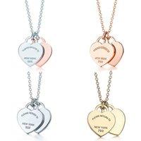 2020! TIF 925 Sterling Silver Classic Doble Heart Colgante Colgante 45 cm, proporcionando un elegante regalo de joyería de amor para F1222 con encanto