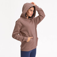 L-27 가을 겨울 후드 야외 레저 스웨터 체육관 의류 여성 느슨한 두꺼운 요가 후드 피트니스 운동 코트 운동복을 실행 탑