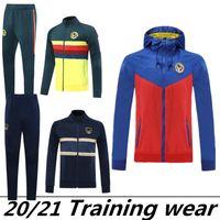 + Calças Club de Futbol América manga comprida paletó Kit Soccer Jersey amarelo azul formação uniforme 2020 ternos azuis Futebol Jacket