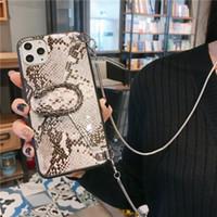 ترف الهاتف القضية الأفعى CROSSBODY حقيبة محفظة للحصول على 12 11 برو XR 7 سامسونج S20 الترا مع سلسلة الحبل أزياء الغلاف مصمم الهاتف
