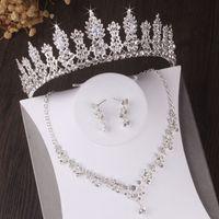 Barroco de cristal floral cristal nupcial conjuntos de jóias strass tiara coroa brincos de colar de casamento conjunto de jóias de contas africanas