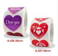 500pcs / 롤 1.5inch 붉은 심장 모양의 스티커 인감 레이블 사랑 스티커 발렌타인 데이 공예 Scrapbooking 선물 접착제 레이블 편지지