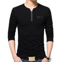 Tfetters Automne Hommes Casual Hommes Henry Collier Solid Couleur Slim Fit T-shirt T-shirt Coton Plus Tailles Topstees M-5XL Topstees C0119