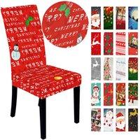 Weihnachts Hussen Weihnachtsmann Elastic Printed Stuhl-Abdeckung Dinner Stuhl zurück Abdeckungen Stühle Cap Weihnachtsfeiertags-Dekoration 60pcs T1I2597