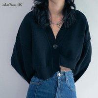 Mnealways18 Streetwear manches longues femme Chemisier Bouton blanc asymétrique Haut à encolure en V en vrac Casual Veste courte plaine chemise noire
