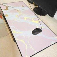 Mouse pads pulso repousa xgz dourado rosa mármore grande almofada de lock borda de bloqueio tapete de borda mesa para laptop jogador de computador mousepad xxl