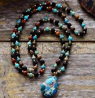 Женщины ожерелье Духовной ювелирные изделия Ясперс Лава камни Teardrop кулон ожерелье бусы Knotted Bohemia Lariat ожерелье Dropship 200928