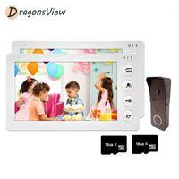 فيديو باب الفيديو dragonsview إنترفون 2 شاشات 7 بوصة الهاتف المنزل جرس الكاميرا 1200TVL مع كشف الحركة نظام الأمن 1