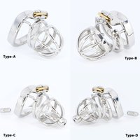 Stainless Steel Cock Cage Penis Ring Chastity Device Catheter with Stealth New Lock Adult Belt Sex Toy for Male C064 C065