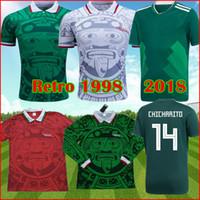 المكسيك 1998 الرجعية لكرة القدم الفانيلة بلانكو 98 كلاسيك لكرة القدم قميص هيرنانديز كامبوس راميريز الأحمر قمصان خاصة تشيتشاريتو لوزانو 18 جرين كيت