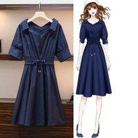 abito camicia blu casuale più dimensioni ICHOIX scura elegante donne il collo ufficio grande vestito estivo 3XL 4XL Midi-line