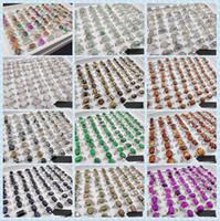 Heiße Verkäufe Naturstein Achat Jade Edelstein Lapislazuli Tigereye Ring 13Style 13 Farben Auswahl Mix Größe Dame / Mädchen Art und Weise Ring 50pcs / lot