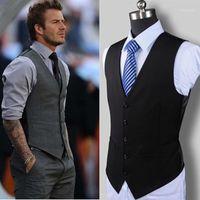 Yeni erkek Moda Butik Pamuk Moda Katı Renk Rahat Suit Yelek erkek Siyah Gri Resmi Businss Yelek Gelinlik1