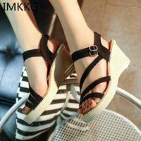 Sandalias Imkkg Plus Tamaño 41 Mujeres Verano Verano Toe Fish Head Plataforma de moda Tacones altos Cuña Zapatos Mujer S1661