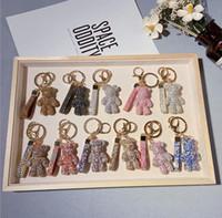 5pcs Full Diamond Bear Bambola portachiavi moda cristallo simpatico cartone animato animale portachiavi pendente catena auto catena di fascino regali regali accessori