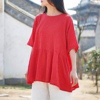 Johnature Casual Stil Pamuk Keten Kadın T-Shirt Yaz Yeni Yarım Kollu Düz Renk Kadın Vintage T-shirt 201028