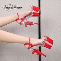 Sandalet Kutup Dans Ayakkabıları Kadın Fashing Show Stiletto 2021 Yaz Topuk Şeffaf Kadın Platformu Yüksek Topuklu Düğün Ayakkabı1