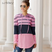 Lossky Women Hoodies Tops Autumn Patchwork Print Pullover Ladies Long Sleeve Hoody Casual Fall Pink Clothes Sweatshirts Lace-up 201019