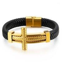 Fashion Hommes Argent Couleur Noir Or Acier Inoxydable Religion Croix Magnétique Boucle de tissage En cuir Bracelets Bijoux1