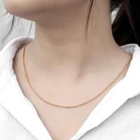2mm Collier mince pour femme fille 585 Rose Gold Cold Rolo Câble Lien Chaîne Chaîne Collier Élégant Bijoux 50 60cm Big Vente