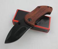 DA33 Piccola Sopravvivenza Pieghevole Blade Coltello 440C Black Drop Blade Blade in legno + Maniglia in acciaio con clip posteriore Strumenti per escursioni Coltelli
