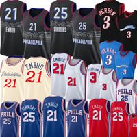 2021 Joel 21 Embiid Jersey Yeni Ben 25 Simmons Jersey Retro Mesh Allen 3 Iverson Basketbol Formaları S-XXL