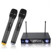 الميكروفونات كلا 2 قناة اللاسلكية المزدوج اللاسلكي يده ميكروفون نظام ميكروفون للاستوديو كاريوكي مشغلات الموسيقى استقبال
