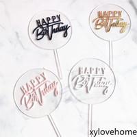 Alles Gute zum Geburtstag Acryl Kuchen Topper Gold Kreis Doppelschicht Cupcake Topper Geburtstagsfeier Kuchen Dekorationen Festliche Partei liefert