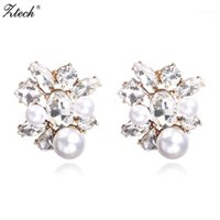 Gestüt ZTech Mode Kristall Frauen Ohrringe Opal Stein Weihnachtsfeier Marke Elegante simulierte Pearl für Geschenk1