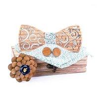 Arco laços manual de moda gravata de madeira lenço conjunto masculino bowtie madeira esculpida e caixa senhores vestuário acessórios1