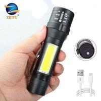 Zhiyu 미니 LED T6 COB 줌 휴대용 Liaterproof 캠핑 작업 조명 USB 충전식 플래시 조명 토치 펜 클립 1