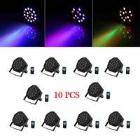 Novos estilos 24W 18-RGB LED AUTO / CONTROLE DE VOZ DMX512 Alta Qualidade Mini LED Lâmpada de Estágio (AC 100-240V) Preto * 10 Moving Head Lights
