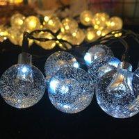 Lâmpadas 2 Árvore Solar Outdoor Ornamentos Iluminação do Natal Decoração 30LED Iluminações de Cordas Garden Holiday Festival Party Decor Crystal Ball