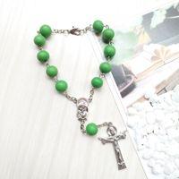 Groene hout rozenkrans armband Jezus kruis hanger armband religieuze bid juwelen geschenken