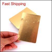 100 unids / lote Color oro puro 6x9cm Pendientes de la tarjeta Ear Stud Tarjeta de embalaje Pantalla de la joyería Cuelga Etiqueta Etiqueta Impresión BMHL9