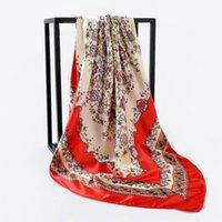 verano bufandas de seda y pañuelos 90cm Plaza Hijab señoras de la bufanda mujeres chal de gasa pañuelo de abrigo silenciador pareo envío libre