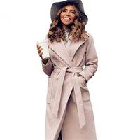 Mvgirlru kadın palto woolblends kadın parkas cepler kuşaklı ceketler kahverengi kahve siyah pembe giyim lj201128