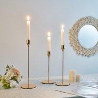 Konik Mumluk Şamdan Altın Mum Tutucular Düğün Dekor Masa Centerpieces Candelabra Candelabros Mum ışığında Akşam Yemeği
