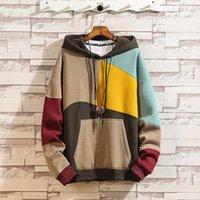 2020 automne hiver hommes hodiques marée couleur géométrique correspondant plus velours pull en coton épais pull Sweat lâche