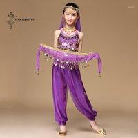 Stage Wear Belly Dance Bollywood Kostuum Kinderen 5 Stks (Top + Broek + Taille Ketting + Armband + Hoofdtooi) Kleding Girls1